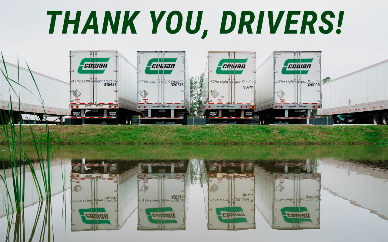 Photo of trailers with the text: Thank you, drivers!